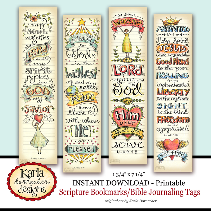 Luke 1-4 Bible Journaling Bookmarks