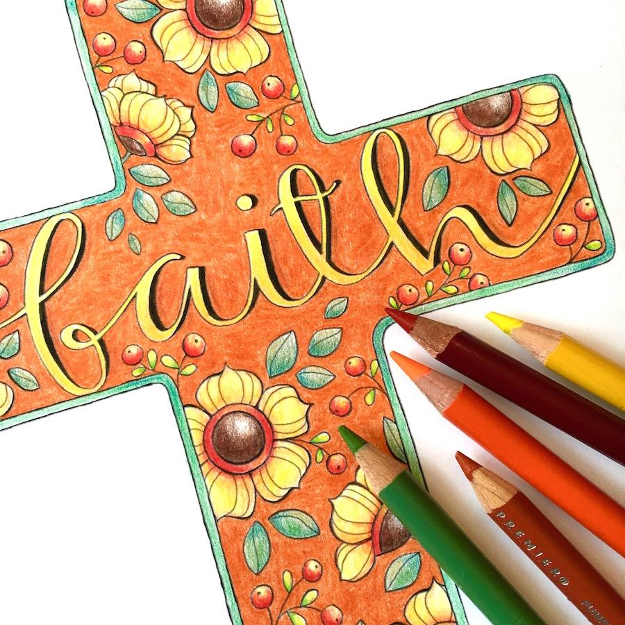 Autumn Faith Cross Colored Pencil Tips…