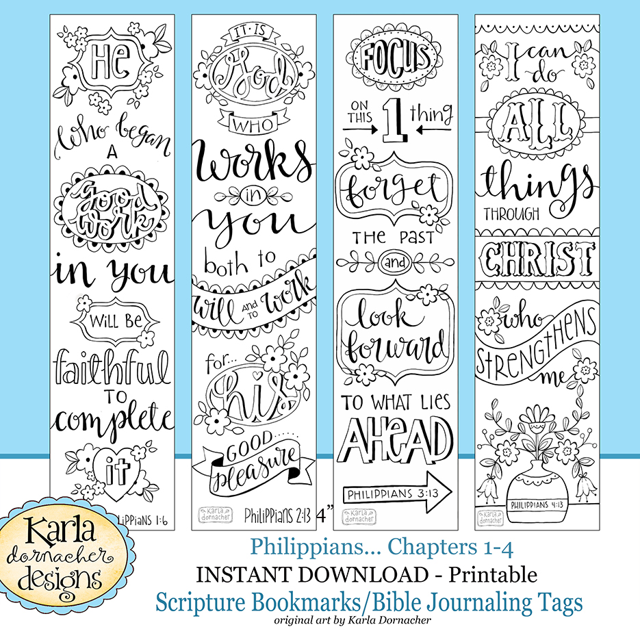 New Philippians Bible Journaling Templates Tracers Color Your Own Bookmarks Instant Download
