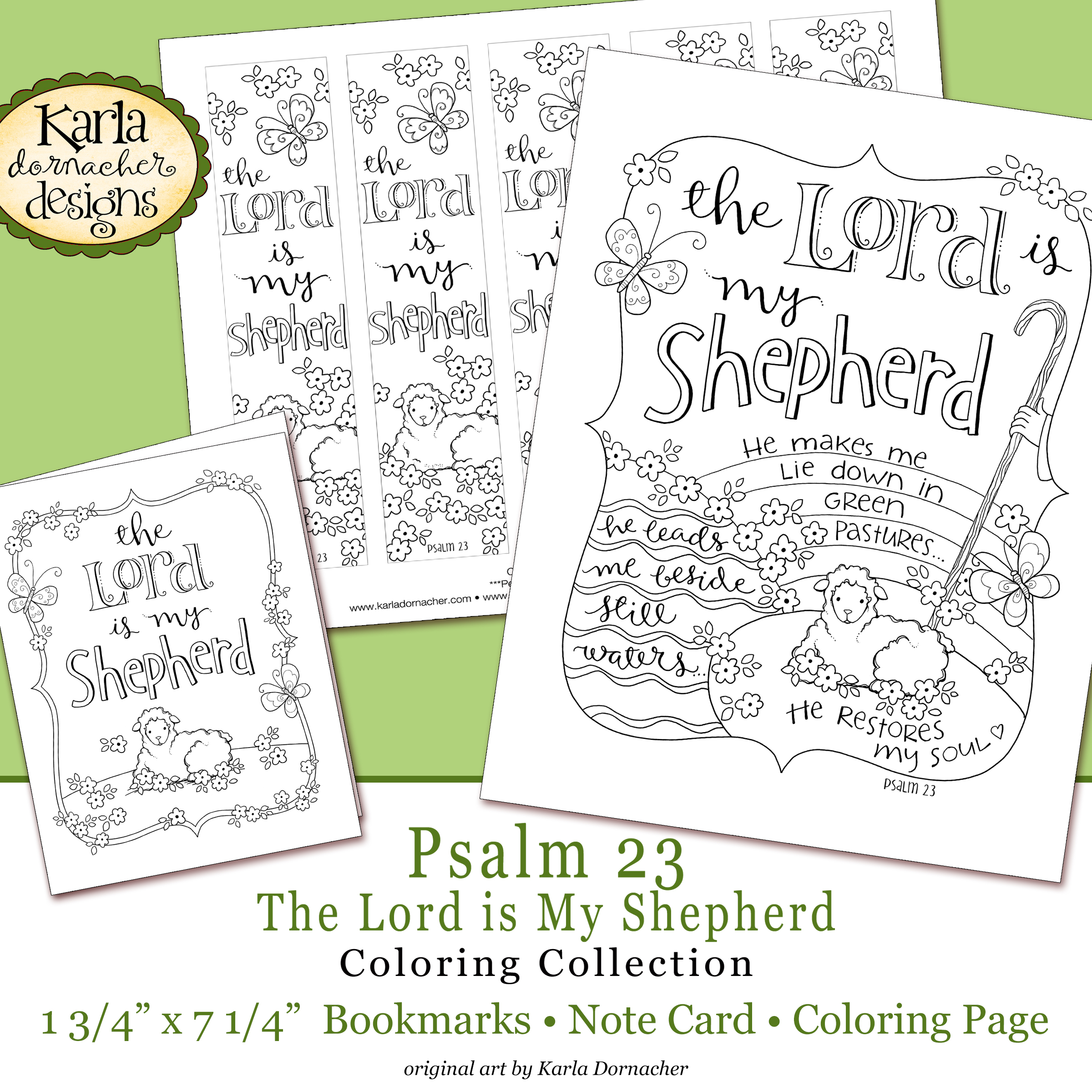 Easter Psalm 23 Bible Journaling Printable Coloring Collection