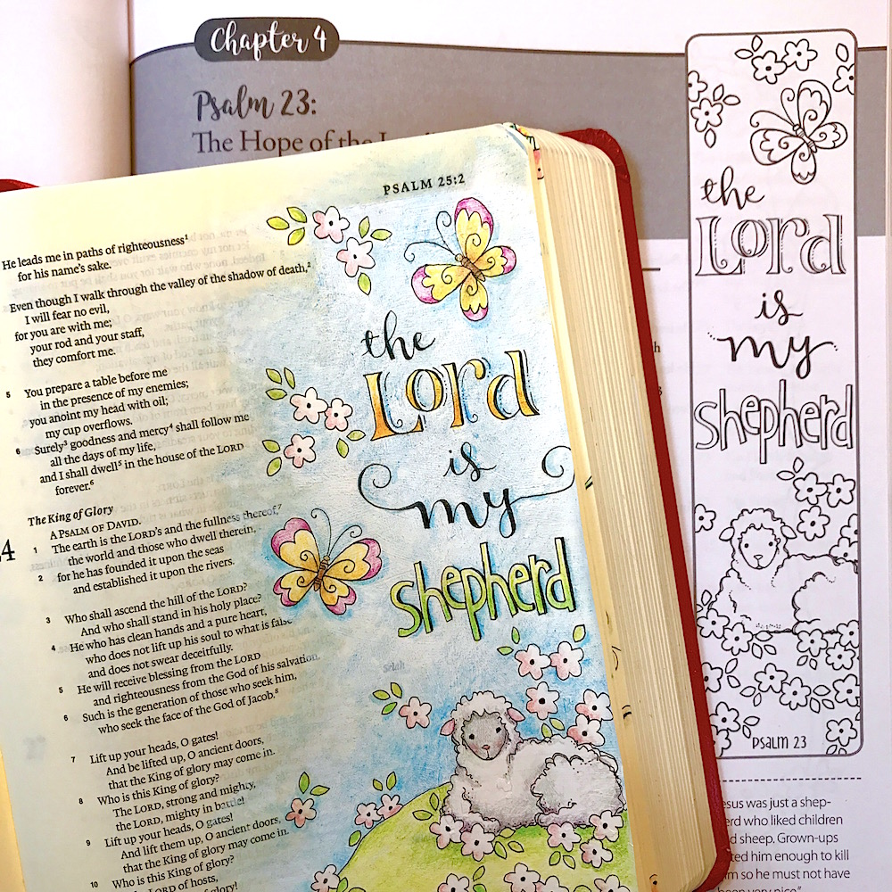 Psalm 23 coloring page in three sizes: 8.5X11, 8X10 suitable for ... | 1000x1000